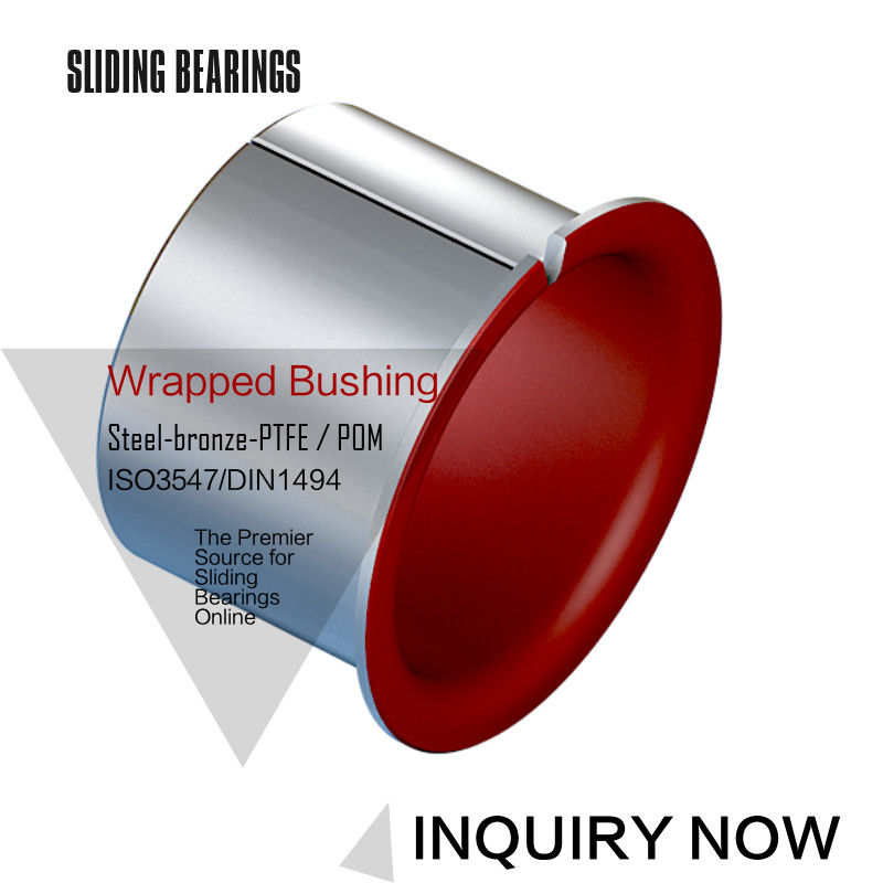 Low Friction Metal Polymer Red PTFE Composite Bearings Sleeveings Bushing